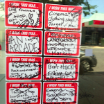 stickers on empty shops in Wynnum