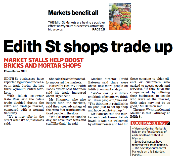 Edith St shops trade up