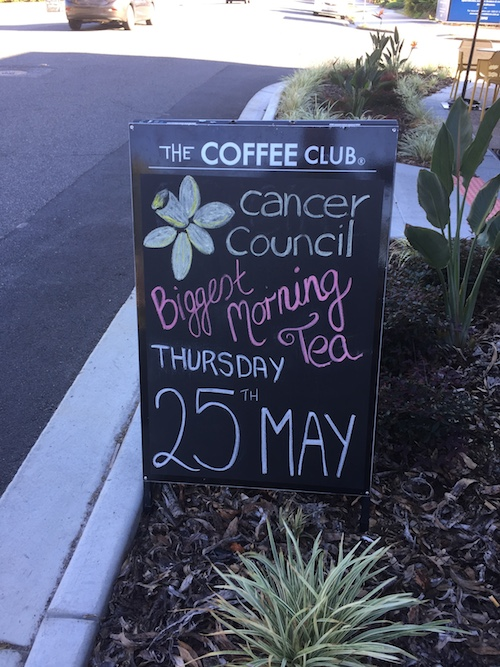 Photo of Coffee Club Wynnum hosting Biggest Morning Tea tomorrow (Thu 25)