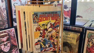 Photo of Retro art, posters and comics at the Wild Fox cafe in Wynnum